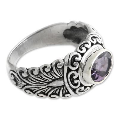 Amethyst solitaire ring, 'Sumatra Splendor' - Amethyst solitaire ring