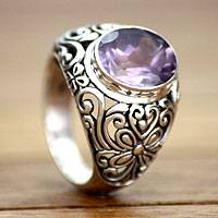 Amethyst solitaire ring, 'Mythical Oasis' -  Amethyst and Sterling Silver Ring with Blossom Design