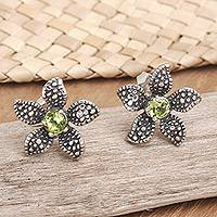 Peridot flower earrings, 'Timeless Jasmine' - Peridot and Sterling Silver Flower Earrings