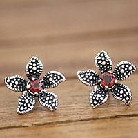 Garnet flower earrings, 'Timeless Jasmine' - Floral Garnet and silver Button Earrings