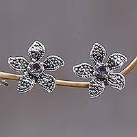 Amethyst flower earrings, 'Timeless Jasmine' - Indonesian Floral Silver and Amethyst Earrings