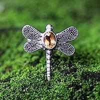 Citrine cocktail ring, 'Gossamer Dragonfly' - Citrine Dragonfly Cocktail Ring from Bali