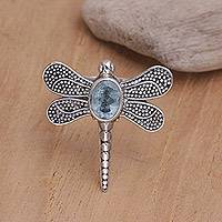 Blue topaz cocktail ring, 'Gossamer Dragonfly' - Unique Blue Topaz and Silver Cocktail Ring
