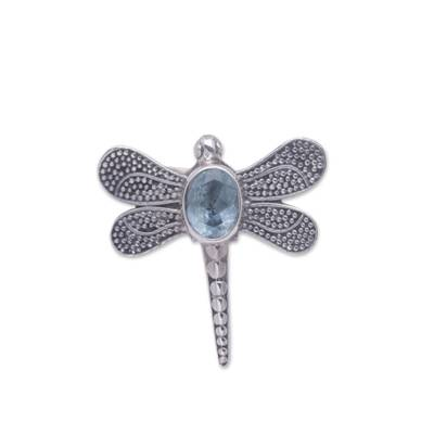 Unique Blue Topaz and Silver Cocktail Ring