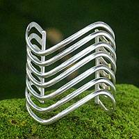 Sterling silver cuff bracelet, 'Wakatobi Surf' - Sterling silver cuff bracelet