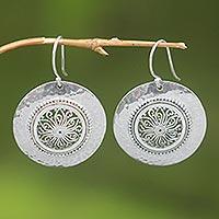 Sterling silver floral earrings, 'Starlight Bucklers' - Worked Sterling Silver Earrings