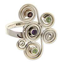 Garnet and amethyst cocktail ring, 'Glitz and Swirl' - Garnet and amethyst cocktail ring