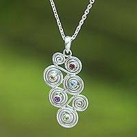Garnet and amethyst pendant necklace, 'Glitz and Swirl' - Hand Made Sterling Silver Multigem Necklace