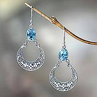 Blue topaz dangle earrings, 'Sumatra Moons'