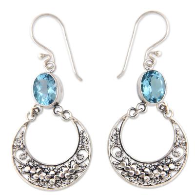 Blue topaz dangle earrings, 'Sumatra Moons' - Unique Sterling Silver and Blue Topaz Dangle Earrings
