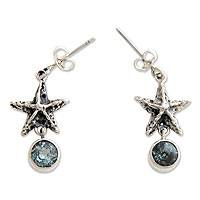 Blue topaz dangle earrings, 'Balinese Starfish' - Artisan Crafted Silver and Blue Topaz Dangle Earrings
