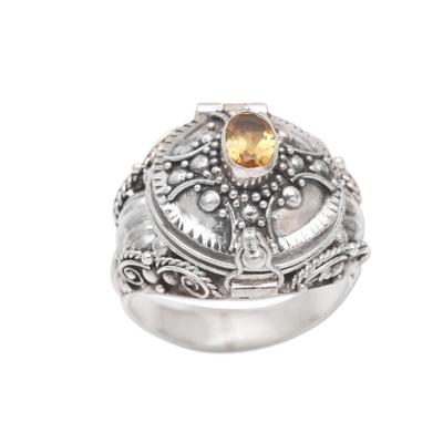 Citrine locket ring, 'Crusader's Secret' - Cross Motif Citrine Locket Ring from Bali
