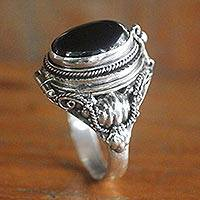 Onyx cocktail ring, 'Goth Secrets' - Sterling Silver Ring with Onyx Top Compartment