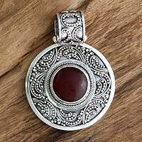 Carnelian pendant, 'Luxury' - Womens Carnelian and Sterling Silver Pendant