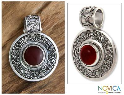 Carnelian pendant, 'Luxury' - Sterling Silver and Carnelian Pendant