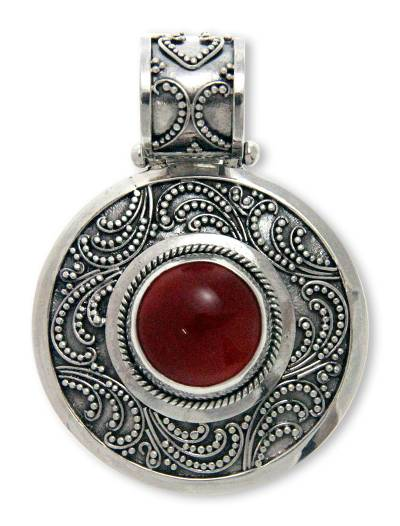 Carnelian pendant, 'Luxury' - Sterling Silver and Carnelian Pendant