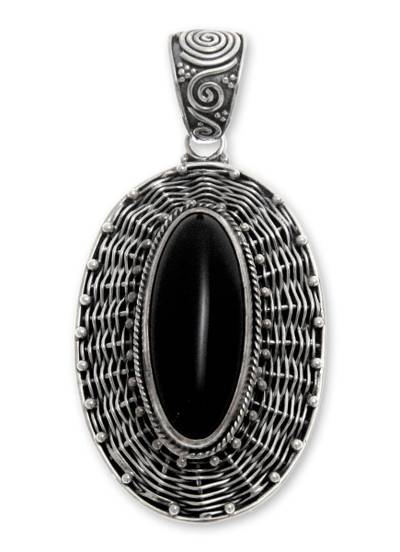 Handcrafted Sterling Silver and Onyx Pendant from Indonesia
