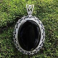 Onyx pendant, 'Midnight Lace'