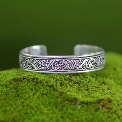 Sterling silver cuff bracelet, 'Fern Ribbon' - Artisan Crafted Sterling Silver Cuff Bracelet