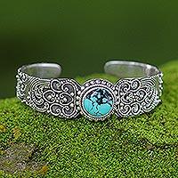 Sterling silver cuff bracelet, 'Earth Vignette' - Sterling silver cuff bracelet