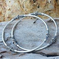 Sterling silver bangle bracelets, 'Balinese Hoop' (pair)