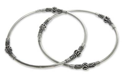 Unique Sterling Silver Bangle Bracelets Pair from Bali