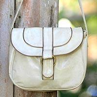 Leather shoulder bag, 'Denpasar Chic' - Hand Made Leather Handbag from Indonesia