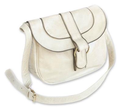 Leather shoulder bag, 'Denpasar Chic' - Hand Made Leather Handbag from Indonesia
