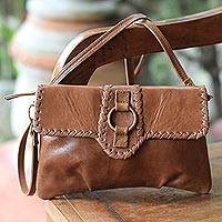 Leather shoulder bag, 'Maluku Vogue' - Leather shoulder bag