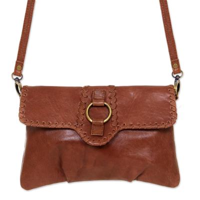 Leather shoulder bag, 'Maluku Vogue' - Leather shoulder bag
