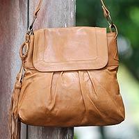 Leather shoulder bag, 'Sulawesi Morn'