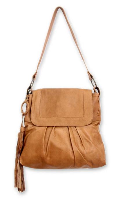 Leather shoulder bag, 'Sulawesi Morn' - Leather shoulder bag