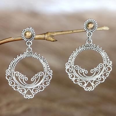 Gold accent dangle earrings, 'Golden Sunset' - Gold accent dangle earrings