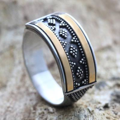 Gold accent band ring, 'Golden Armor' - Traditional Balinese Handcrafted 925 Sterling Silver Band Ri