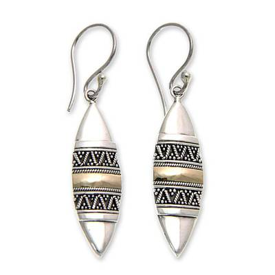 Gold accent dangle earrings, 'Golden Bali Surfboards' - Hand Made Sterling Silver and 18k Gold Earrings