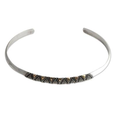 Hand Crafted Gold Accent and Sterling Silver Cuff Bracelet