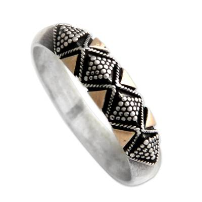Gold accent band ring, 'Golden Garden' - Modern Silver and Gold Overlay Ring