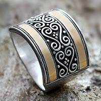 Gold accented sterling silver band ring, 'Celuk Gates' - Silver and Gold-plated Ring