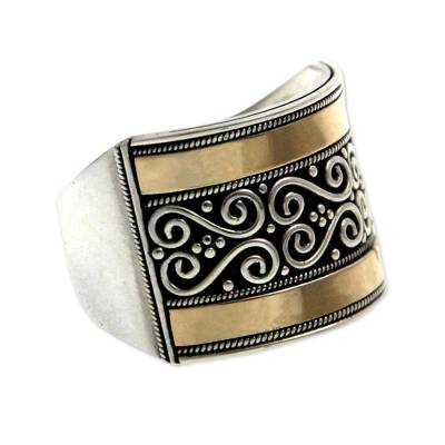 Gold accented sterling silver band ring, 'Celuk Gates' - Sterling Silver and 18k Gold Plated Ring