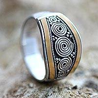 Gold accent signet ring, 'Celuk Legend' - Sterling Silver and Gold Accent Ring