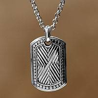 Men's sterling silver pendant necklace, 'Ancient Fortress' - Men's Hand Made Sterling Silver Pendant Necklace