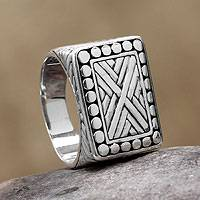 Men's sterling silver signet ring, 'Ancient Fortress' - Unique Men's Sterling Silver Ring from Bali and Java