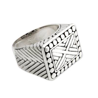 Men's sterling silver signet ring, 'Ancient Fortress' - Men's Handcrafted Sterling Silver Signet Ring