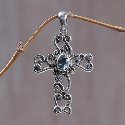 Blue topaz cross pendant, 'Balinese Cross' - Fair Trade Sterling Silver and Blue Topaz Pendant