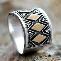Gold accent band ring, 'Tribal Rhythms'