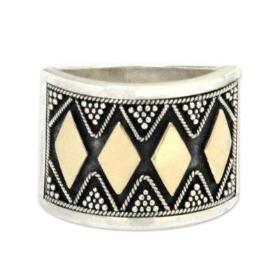 Gold accent band ring, 'Tribal Rhythms' - Hand Made 18k Gold Accent Band Ring