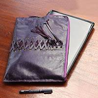 Leather laptop case, 'Cyber Purple' - Handcrafted Leather Laptop Case