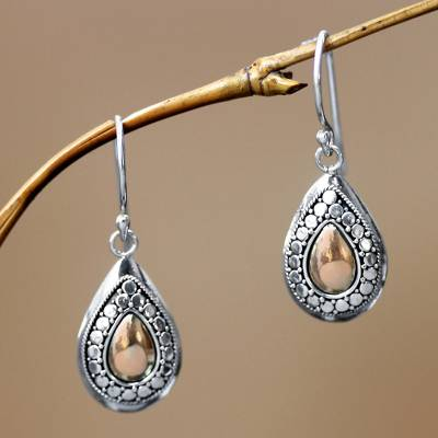Gold plated dangle earrings, 'April Sun' - Gold Plated and Sterling Silver Dangle Earrings