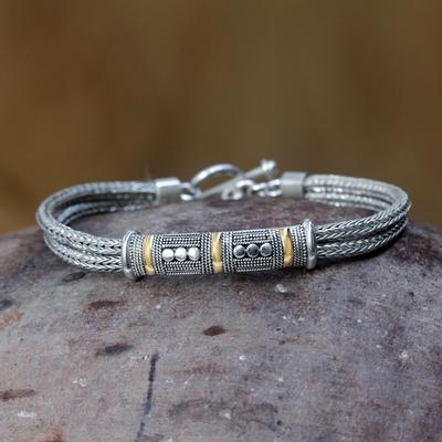 Sterling silver bracelet, 'Puri Naga' - Handcrafted Gold Accent and Sterling Silver Bracelet