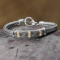 Sterling silver bracelet, 'Tanah Lot Mystery' - Sterling Silver Balinese Bracelet with Gold Accent